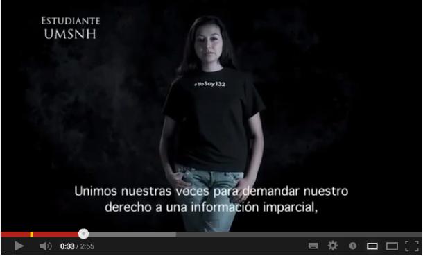 « Unissons nos voix pour demander notre droit à l'information impartial, plurale et transparente ». Vidéo @yosoy132, 2012.
